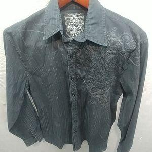 Roar Mens embroidered LS shirt sz Large